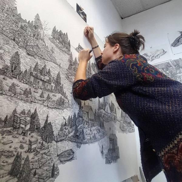 Целый мир на бумаге: британка создает невероятные пейзажи обычной ручкой Интересное
